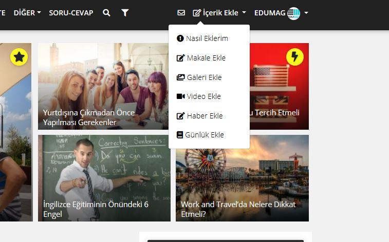 1. Yeni İçerik eklemek için ilk adım, EDUMAG'a giriş yapın!
